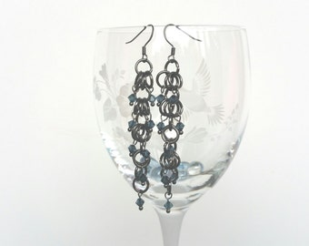Shaggy Loops Chain Maille and Swarovski Crystal Earrings in Gunmetal Grey