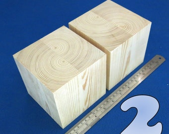 "LOT x 2 CUBES 4.5"" / ~115 mm wooden blocks bundle set PINE wood natural eco bricks"