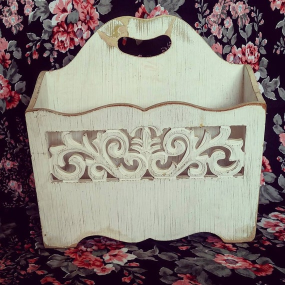 shabby chic magazine holder by magnoliahomeboutique on etsy. Black Bedroom Furniture Sets. Home Design Ideas