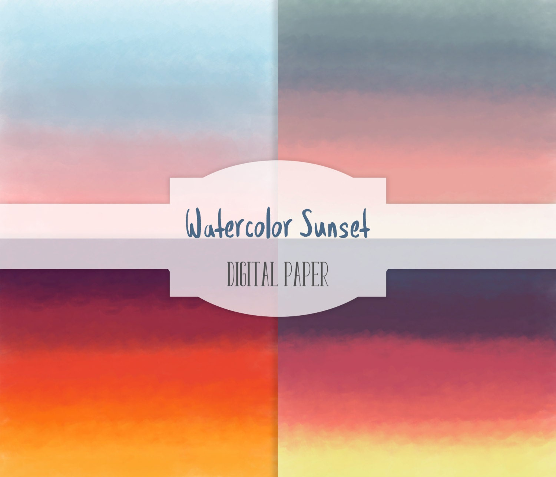 Sunset Ombre Watercolor Digital Paper set - 4 Digital ...