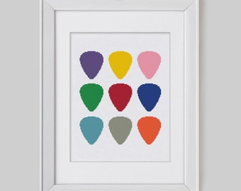 Counted Cross Stitch | Guitar Picks  Counted Cross Stitch Pattern instant download PDF cross stitch pattern from Leaf Blown Designs