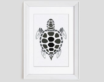 Cross Stitch Pattern, turtle cross stitch pattern, turtle counted cross stitch, modern cross stitch turtle