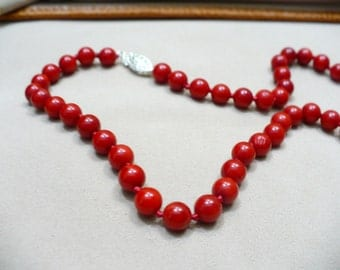 """Red Coral Neklace 16"""""""