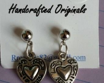 OOAK small silver heart post earrings