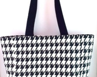 Black & White Houndstooth Tote