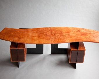 Modern Desk, Contemporary Desk, Modern Art Furniture, Modern Furniture, Wood and Metal Desk, Floating Top Desk, Exotic Wood Desk, Cool Desk