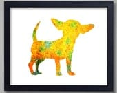 Chihuahua Art Print - Proceeds to Shelters - Dog Wall Art - Abstract Digital Animal Painting