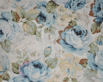 One Yard Teal Blue Cabbage Rose Quilt Fabric