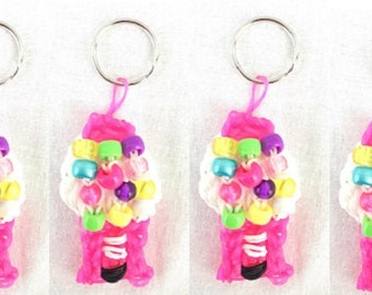 4 Fruity Chewy Bubblegum Machine Keyring Handcrafted Rainbow Loom Rubber Bands Backpack Accessory Bubblegum Birthday Party Party Favors