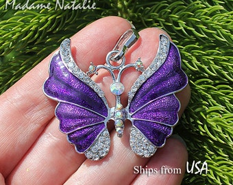 Purple Butterfly Pendant, Rhinestone and Enamel Butterfly Pendant, Violet Butterfly, Big Pendant for Long Chain Sweater Necklace