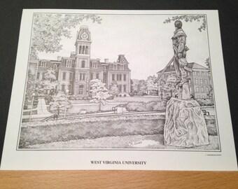 West Virginia University 8x10 print of Woodburn Hall