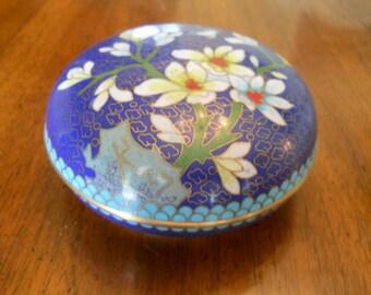 Intricate Cloisonne Enamel over Brass Trinket Box Floral Blue China Vintage 1970's