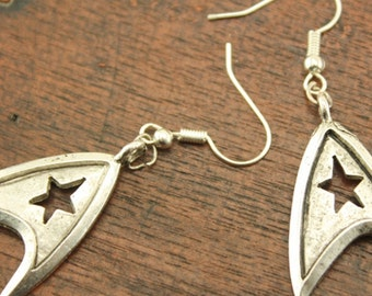 the silver antique earrings Star Trek jewelry Christmas jewelry E147A