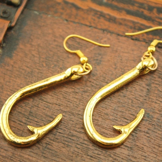 Silver fish hook jewelry steampunk earrings christmas gifts for Silver fish hook necklace