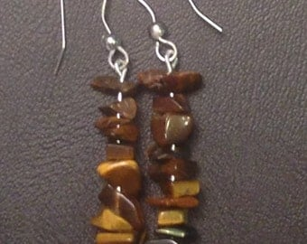 Natural-Tone Stone Stack Earrings