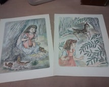 Two Masha Illustration Lithographs Childrens Book Colored Pencil  Water Color Drawing Framing