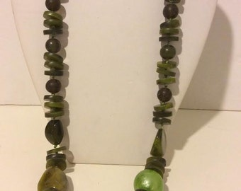 Green resin and bead long chunky statement necklace