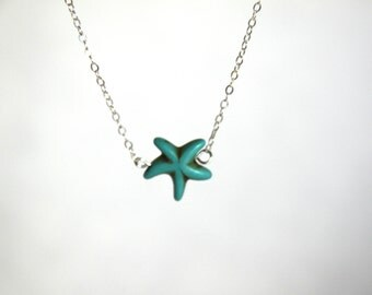 Turquoise Starfish Pendant Silver Necklace Boho Pendant Beach Wedding Bridal Something Blue Bridesmaid Jewelry Gifts Under 20 Gifts for Her