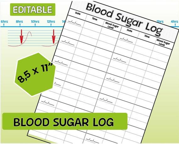 Blood Sugar Log, Diabetic Log, Editable Blood Sugar Tracker, Printable ...
