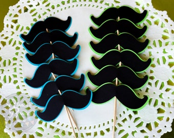 Set of 12 Mustache Cupcake Decorative Toppers, Cupcake Party Decoration, Little Man Theme