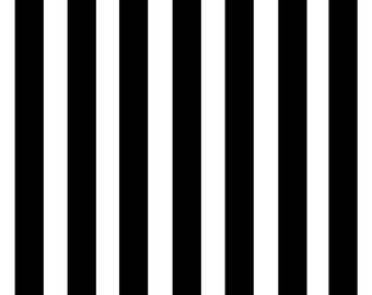 Spandex Fabric 1'' wide Black and White Stipes Print by the yard