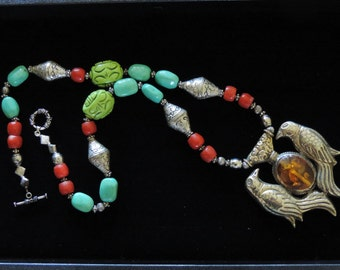 Amazing turquoise, coral, Amber and Nepalese Silver Necklace
