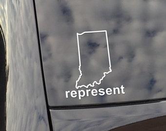 Indiana Represent Vinyl Decal