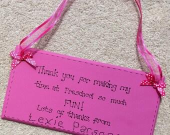 Personalised Thank you Teacher Preschool Nursery sign