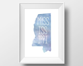 Mississippi State Blue Watercolor Printable Art, Mississippi Print, Mississippi Art, Modern Art,