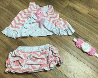 Chevron swing dress with matching diaper cover and triple shanby flower headband