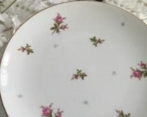 2 Japanese dessert plates, porcelain dessert plates, Dessert Gold Trim floral plates, tea party fine china plates, cottage dessert plates,