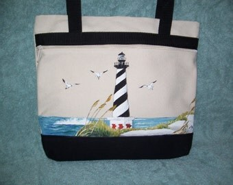 Handpainted Cape Hatteras Lighthouse bag