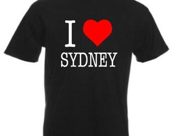 I Love Sydney - Mens/Adults Tshirt - Novelty/Funny/Gift/Present/Party/Secret Santa/Fancy Dress/Theme/Australia