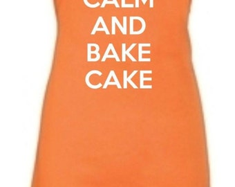 Keep Calm And Bake Cake Adult Novelty Apron - Various Colours Available.