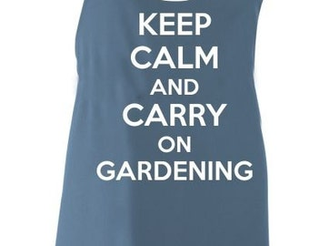 Keep Calm And Carry on Gardening Adult Novelty Apron - Various Colours Available.