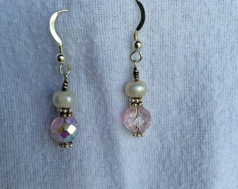 Pearl & Czech glass earrings.