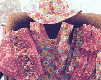 Reversible sundress with bloomers and reversible sun hat