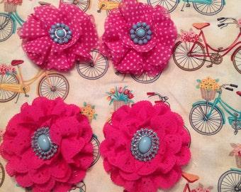 Hot pink eyelet fabric flower hair clip