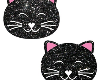 Pasties - Black Glitter Happy Kitty Cat Nipple Pasties by Pastease® o/s