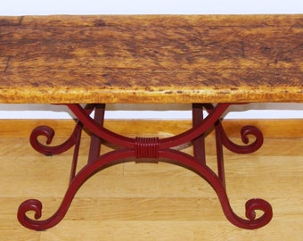 Reclaimed Wood and Wrought Iron Rustic Accent Table