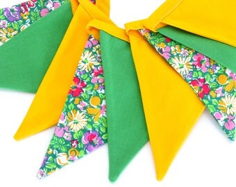 Fabric Flag Banner / Pennant / Bunting / Yellow / Green / Floral