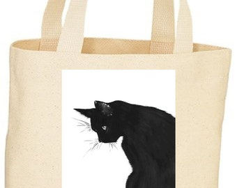 Custom Vintage style Black Cat image on a tote bag