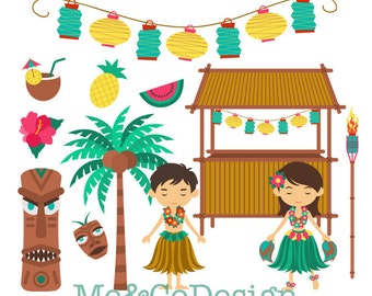 Hawaiian Holiday Clipart, Fun Cute Clipart, Girl and Boy, Hawaii Instant Download, Personal and Commercial Use Clipart, Digital Clip Art
