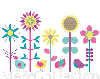 Bright Birds Clipart, Fun Cute Clipart, Birds and Flowers Instant Download, Personal and Commercial Use Clipart, Digital Clip Art