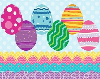 Easter Eggs Clipart, Easter Eggs and Borders Clipart, Fun Holiday Instant Download, Personal and Commercial Use Clipart, Digital Clip Art