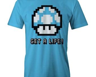 Get A Life Nintendo T-Shirt Funny Gamers Retro Gaming 80s 90