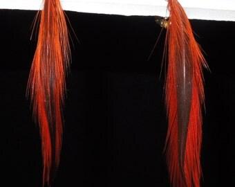Vintage 1970s Orange Feather Clip Earrings