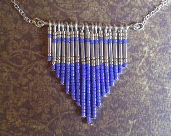 Azure blue necklace in miyuki pearls