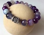 Items Similar To Natural Purple Madagascar Agate Bracelet