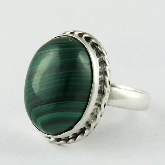 handmade ring malachite ring sterling silver by